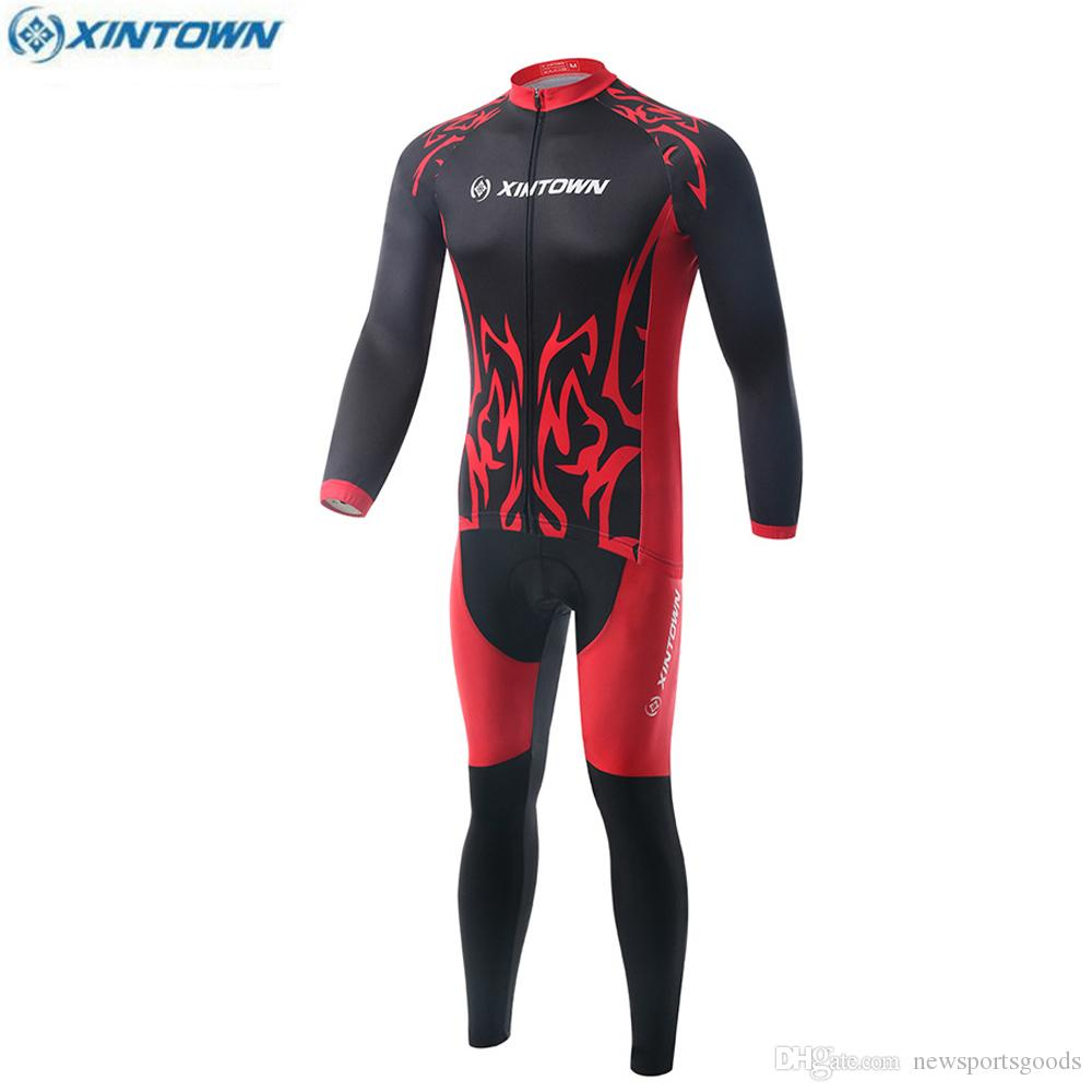 XINTOWN Winter Windproof Warm Long Sleeve Fleece Lined Cycling Jerseys Profession Mtb Bike Clothes Breathable Sweatproof Long Pant Bib Sets