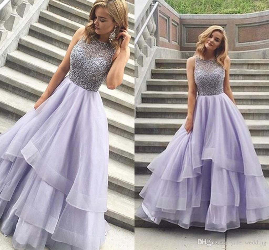 Beading Tiered Ball Gown Prom Dresses
