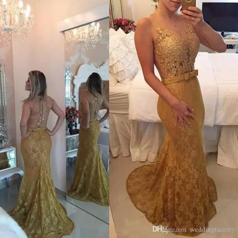 Gold Lace Prom Dresses Mermaid Sexy Illusion Evening Gowns New Special Occasion Dress For Women Custom Made Formal Dress