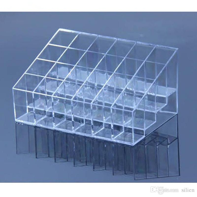 Wholesale-Hot sale Plastic Clear Trapezoid Lipstick Holder 24 Square Grid Cosmetic Box Brush Stand Rack Tidy Organizer