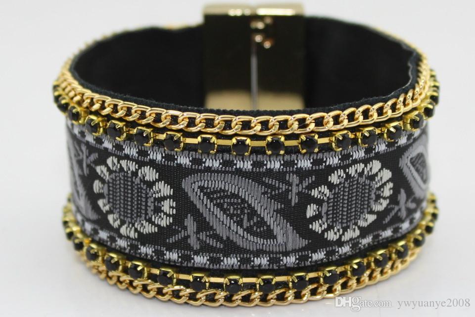 STONE MAGNETIC BRACELET Nylon PU diamond chain grip magnet buckle Bohemia Embroidery chain bracelet multi colours free shipping lead free