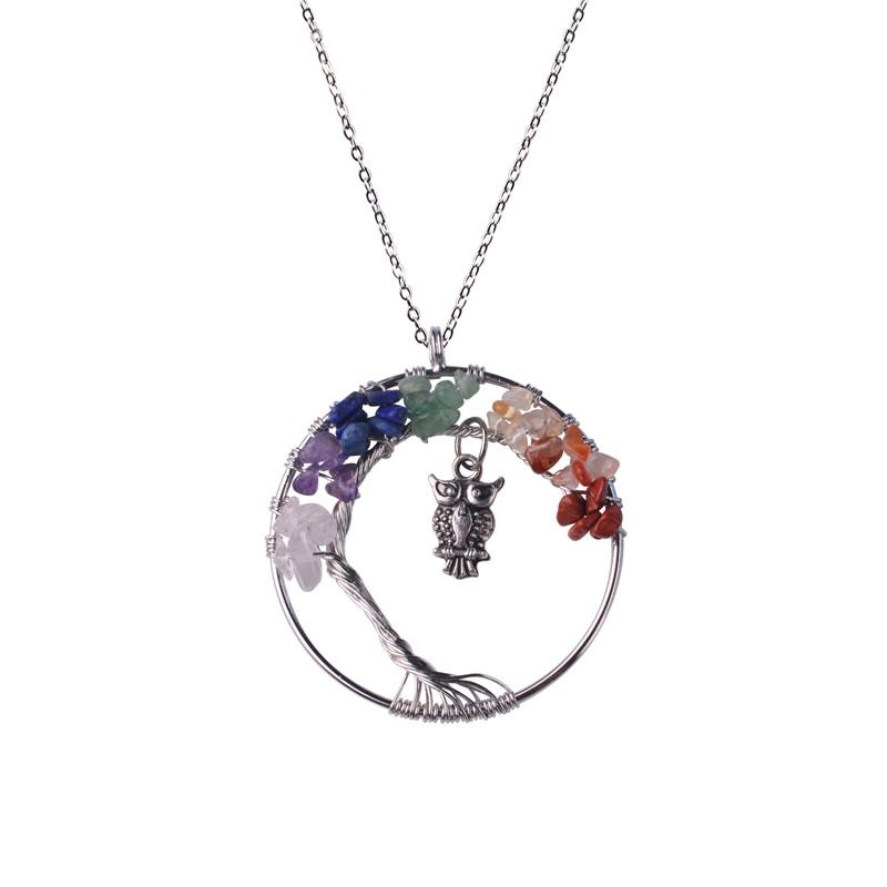 2018 12pc/set Handmade Rainbow Chakra Owl Tree of Life Necklace Multicolor Amethyst Rose Quartz Wisdom Tree Natural Stone Collier Necklace