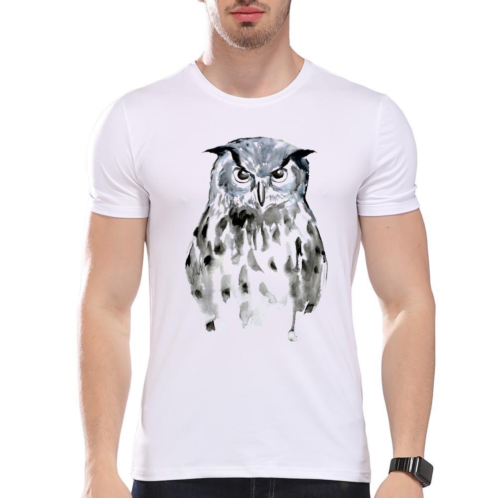 Мужская одежда тройники дешевые мужские прохладный животных стиль симпатичные Акварель Сова печати футболка мужчины лето модальные Битник тройники