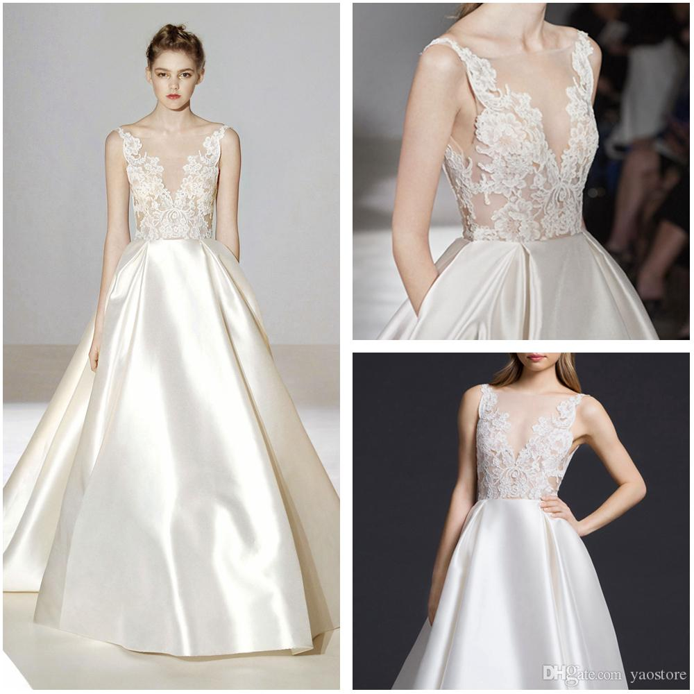 Discount Vintage Ivory Silk Mikado Bridal Ball Gowns 2016 Shear Appliques Lace Bodice Wedding Gowns Flare Satin Modest Wedding Gowns Wedding Dresses