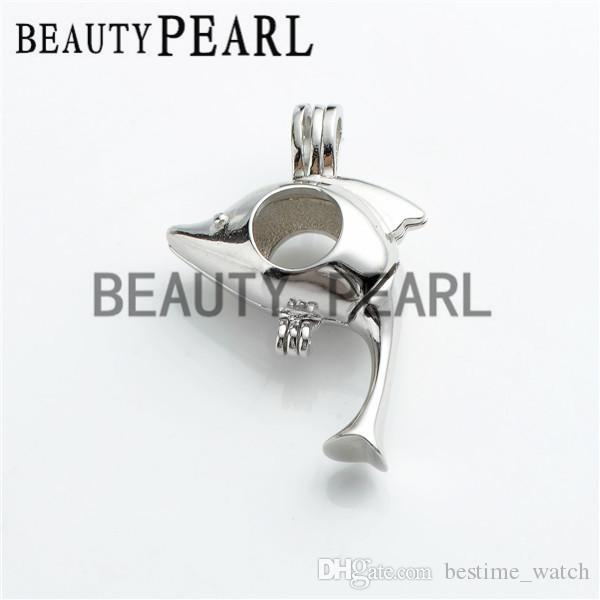 Bulk of 3 Pieces Gift Cage 925 Sterling Silver Locket Love Wish Pearl Lovely Dolphin Pendant Cage
