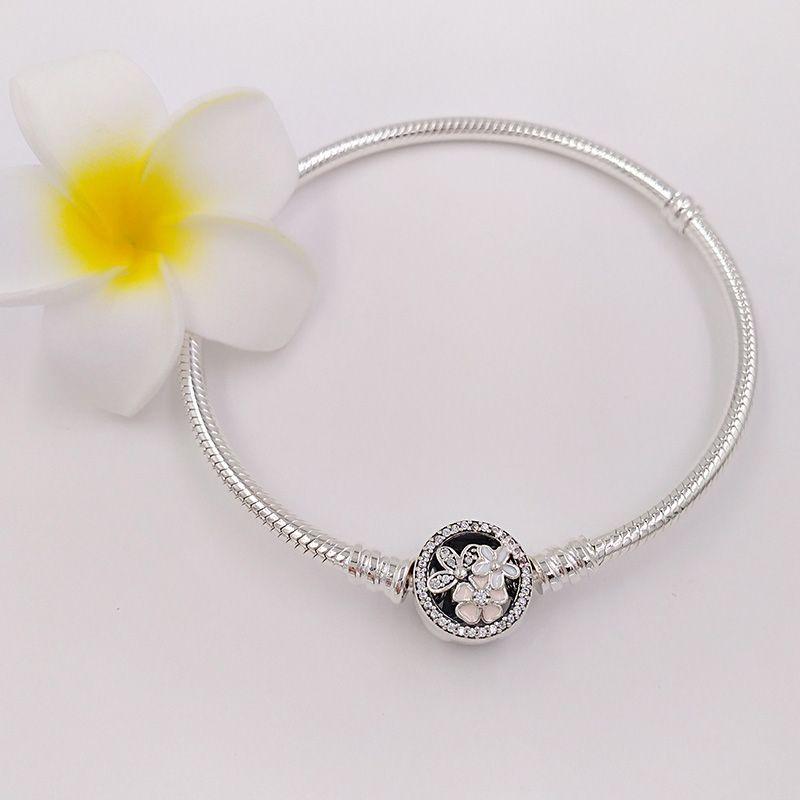 Autentico 925 sterling argento poetico fiorisce smalti misti smalti chiari braccialetto cz adatti gioielli in stile Pandora europeo perline di charms 590744cz