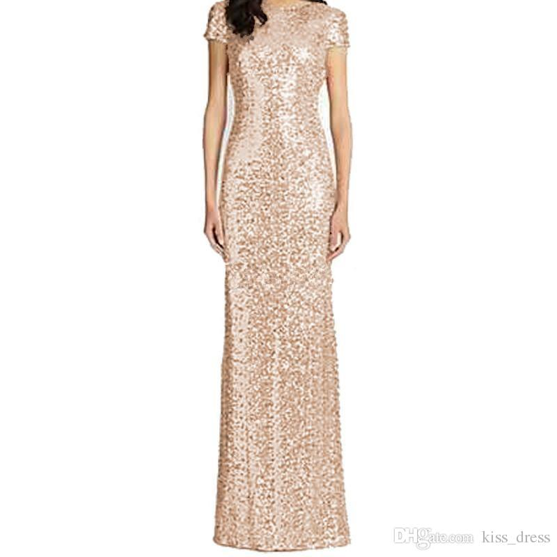 2019 Rose Gold Long Bridesmaid Dresses Floor Length Short Sleeve Mermaid Sequined Bling Bling Garden Wedding Guest Evening Party Gowns B65