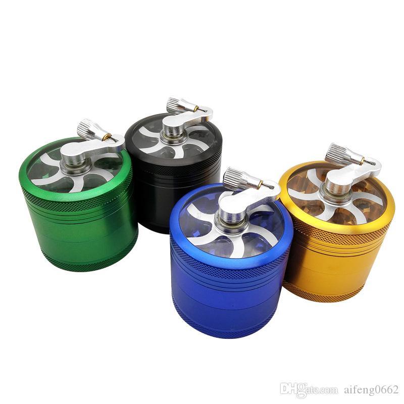 4 capas Molinillos de metal de tabaco de humo Diseño de forma de molino de viento 56 mm Dia Herb Grinder con herramienta de accesorio de cigarro