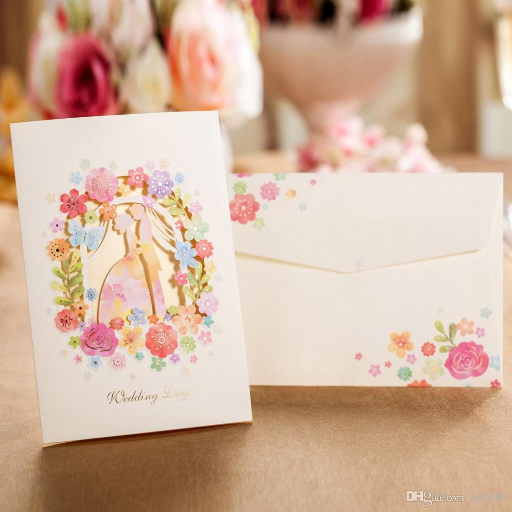 Multi color cardstock paper -  Multicolor Laser Cut Floral Flowers Groom Bride Wedding Invitations Elegant Engagement Invite Cardstock Paper