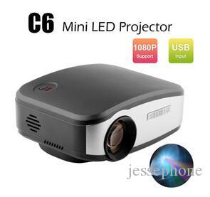 New C6 Mini Portable LED Pico Pocket Projector 1200 Lumens HDMI/USB/VGA/AV/TV LCD Proyector 1080P For Home Theater Video Cinema Games Beamer