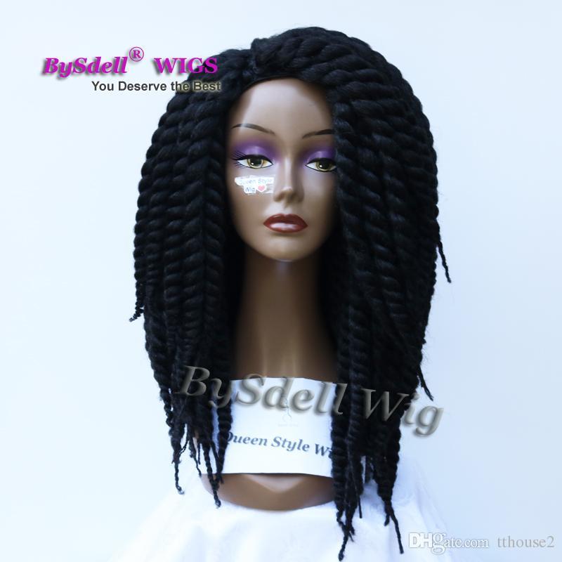 Fablous Fat Crochet Tresse Perruque de Cheveux Synthétique Afro Kinky Twist Grand Tressage Perruques De Cheveux pour Femme Noire
