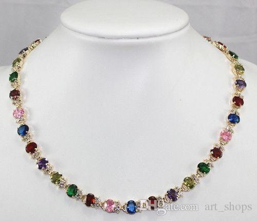Charmant! Multicolor Zirkon Kristall Halskette 18 ''