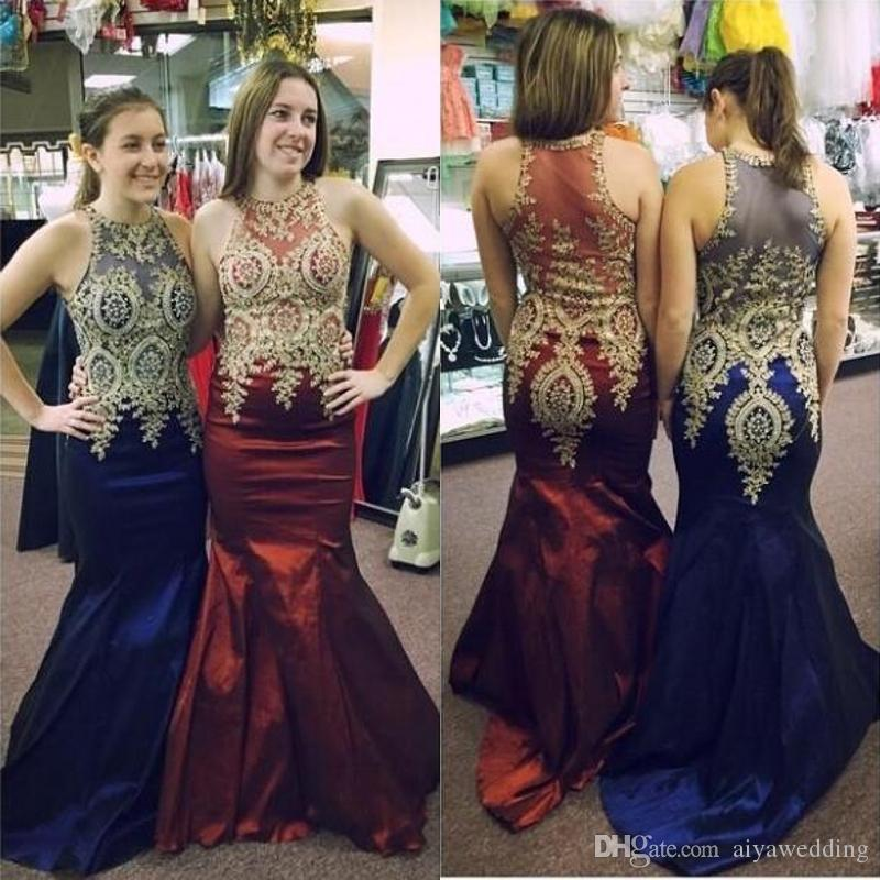 2019 Beautiful Prom Dresses With Gold Details And Sleeveless Lace Appliqued  Dark Red Satin Royal Blue Evening Gowns Prom Dresses Lace Prom Dresses Las
