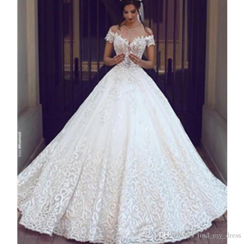 Princess Castle Ball Gown Lace Wedding Dress Deep V Neck Open Back High Quality Bridal Vestidos Custom Size Illusion Romantic Charming Satin Ball Gown