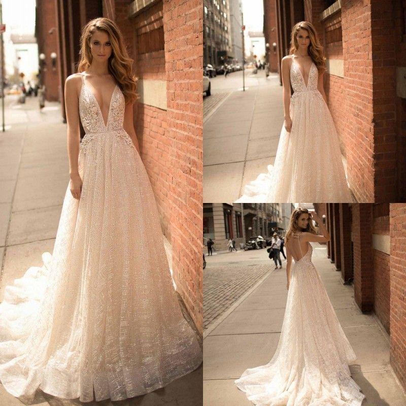 Berta 2018 A Line Wedding Dresses V Neckline Flower Appliques Sequins Bridal Gowns Backless Sweep Train Sash Wedding Dress
