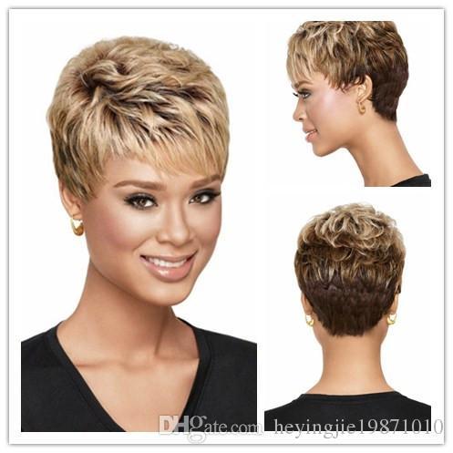 """Xiu Zhi Mei 6 """"afro-americano ombre loira peruca com franja, cortes de cabelo curto para perucas de cabelo encaracolado para as mulheres negras"""