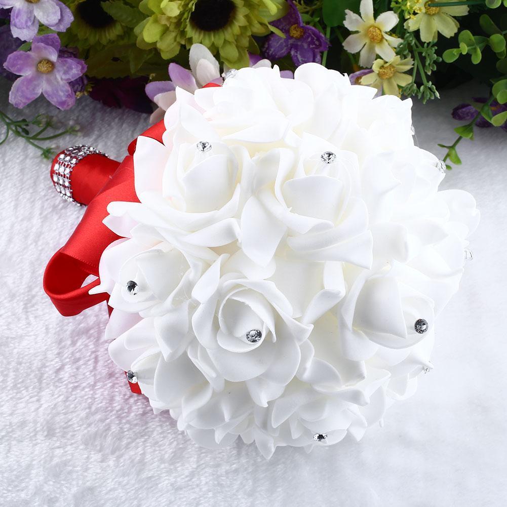 Atacado-2016 Hot Sale Handmade broche de noiva strass buquê de casamento da dama de honra para decoração de casamento flores artificiais