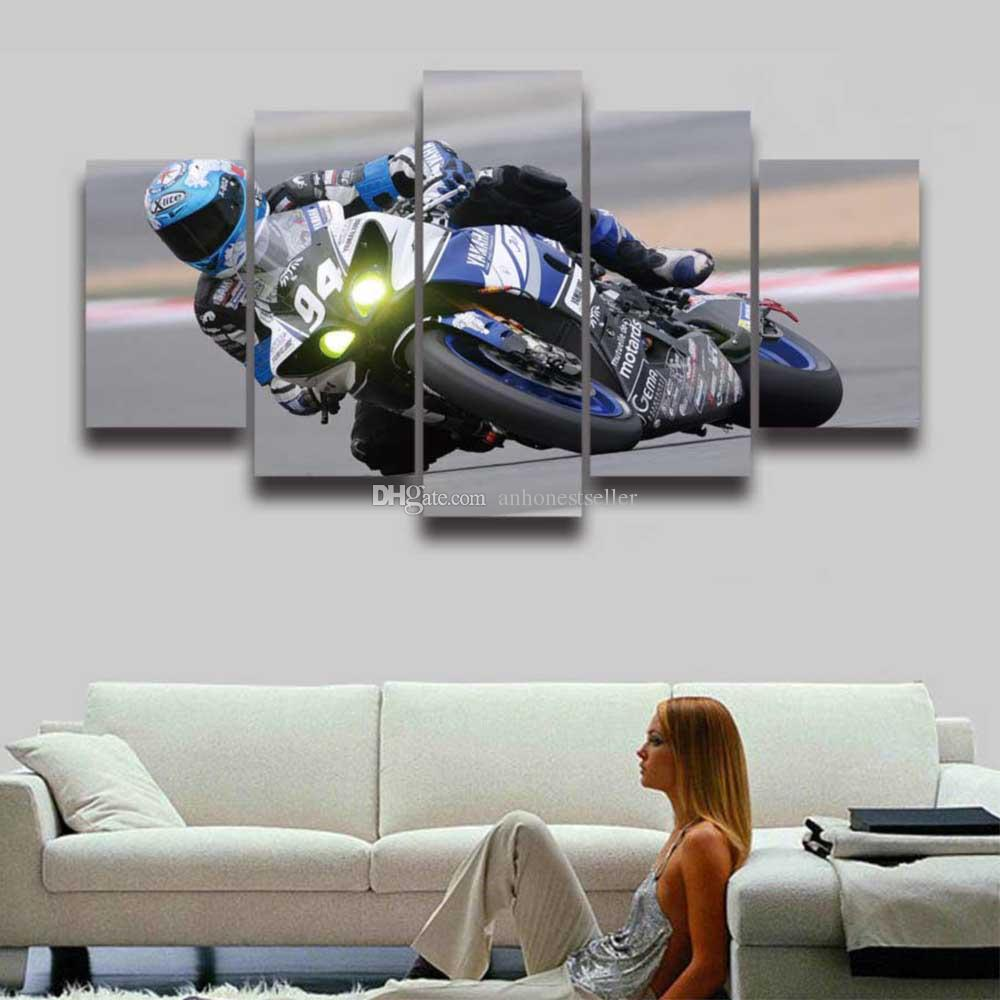 5 Panel HD Prints Canvas Picture Race Moto Sports Painting Cool Poster for Home Decor Living Room Decorate Wall