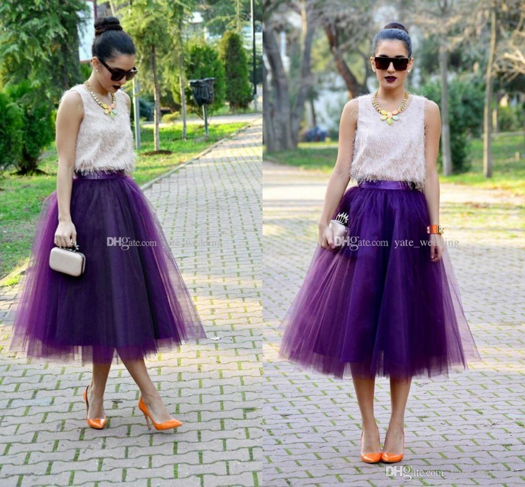 Fashion Regency Purple Tulle Skirts For Women Midi Length High Waist Puffy Formal Party Skirts Tutu Adult Skirts