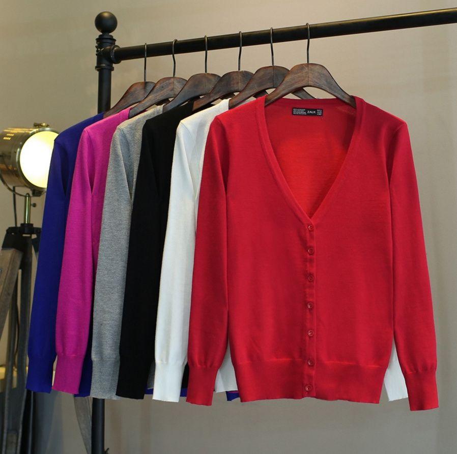 Toptan- yeni moda ilkbahar sonbahar büyük boy 4XL kadın kazak hırka basit katı maç bayan örme ceket ince düğmeleri v- boyun dış giyim