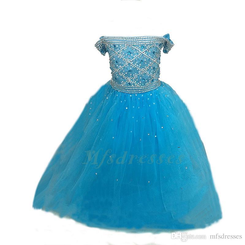 Vestidos del desfile de princesa Ball Girl Girls Dress 2017 rebordear vestido de niña de las flores azules Vestidos de fiesta de baile de fin de curso de las muchachas Vestidos de fiesta formales
