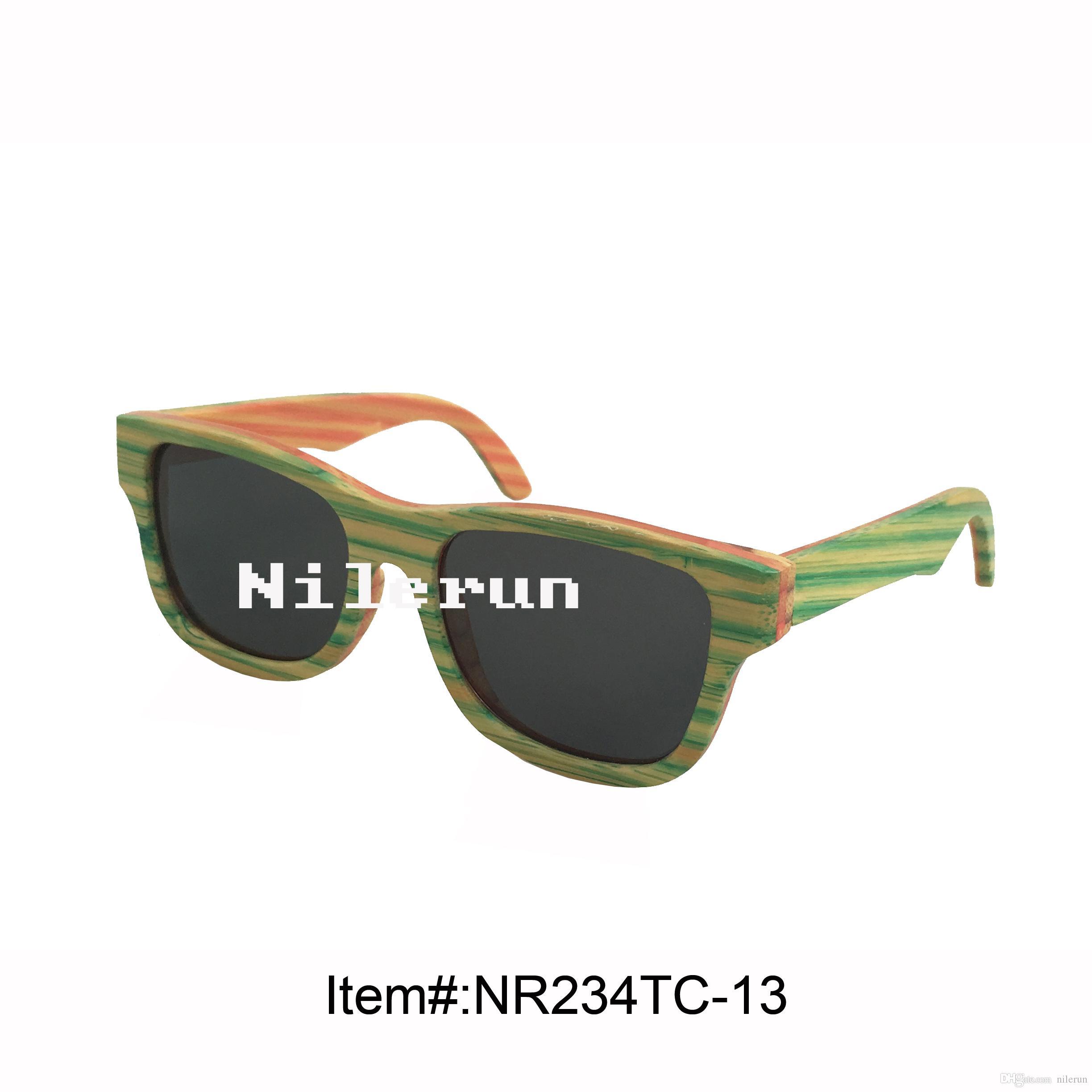 Mode grüne Streifen Bambus Sonnenbrille