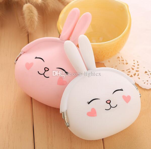 새로운 패션 동전 지갑 사랑스러운 Kawaii 만화 토끼 주머니 여성 소녀 작은 지갑 부드러운 실리콘 동전 가방 키즈 선물