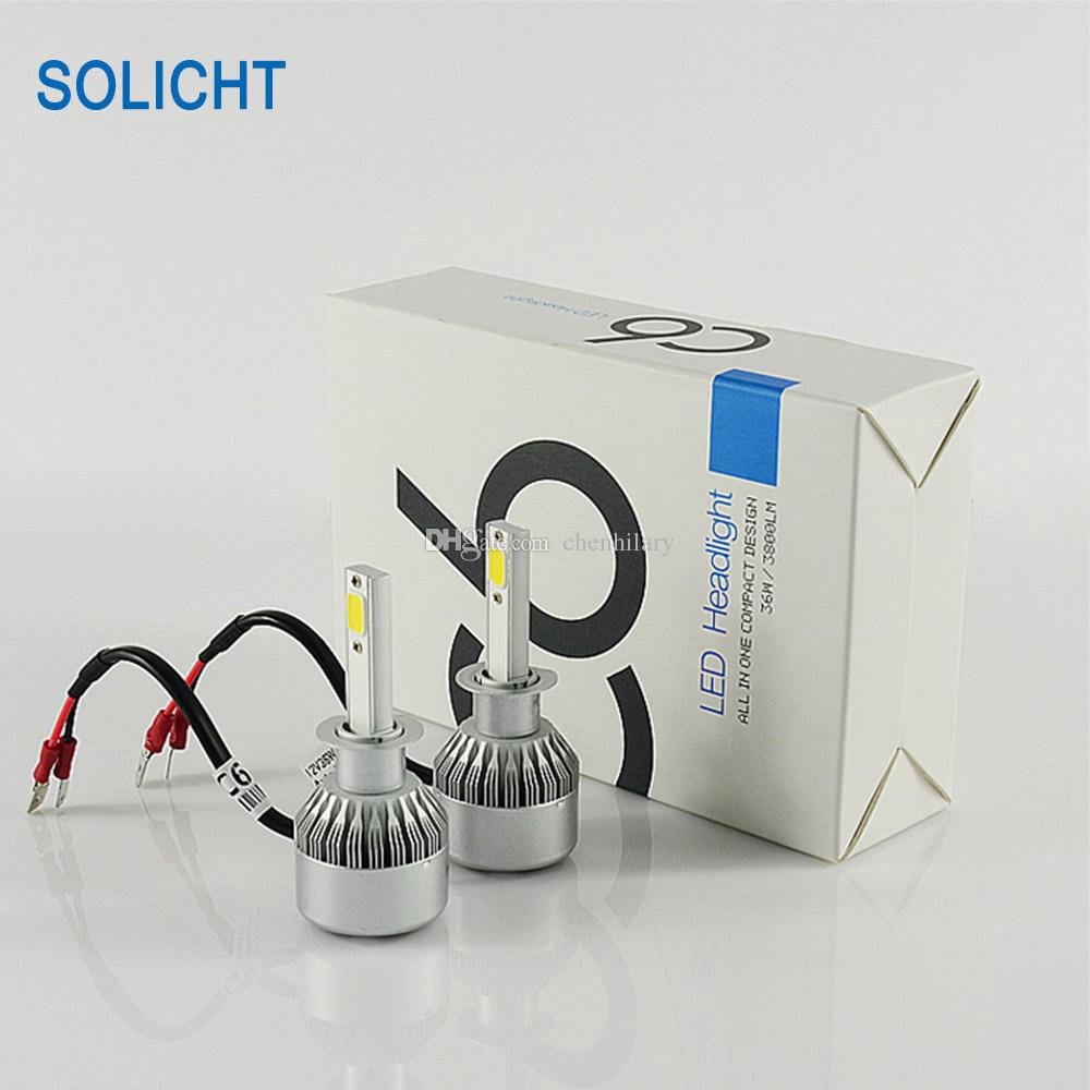 72 W 7600lm COB C6 LED far Araba LED Ampuller H1 H3 H4 H7 H8 880/881 H11 H13 9004 9005 9006 9012 Otomotiv led ışık