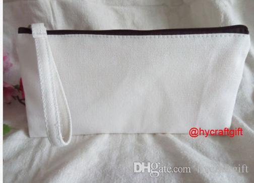 Filles Nouveau coton blanc toile cosmétiques Sacs bricolage femmes blanc plaine zip poignée maquillage sac téléphone pochette pochette cadeau organisateur cas pochettes