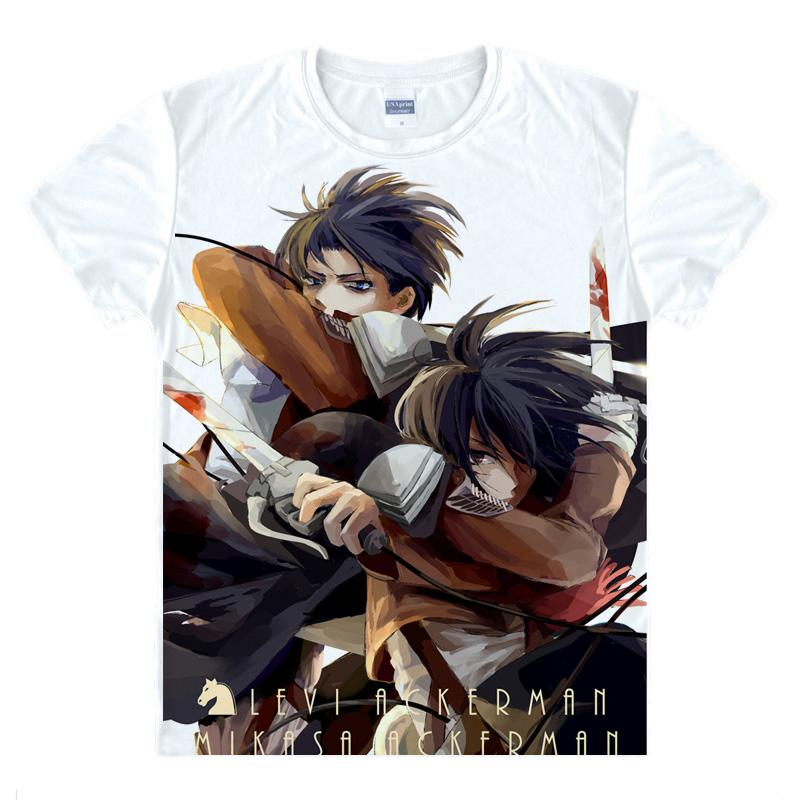 Anime Shirt Attack on Titan T-Shirts Multi-style Short Survey Corps Eren Jaeger Cosplay Motivs Shirts Tee-Style070-1-NO19