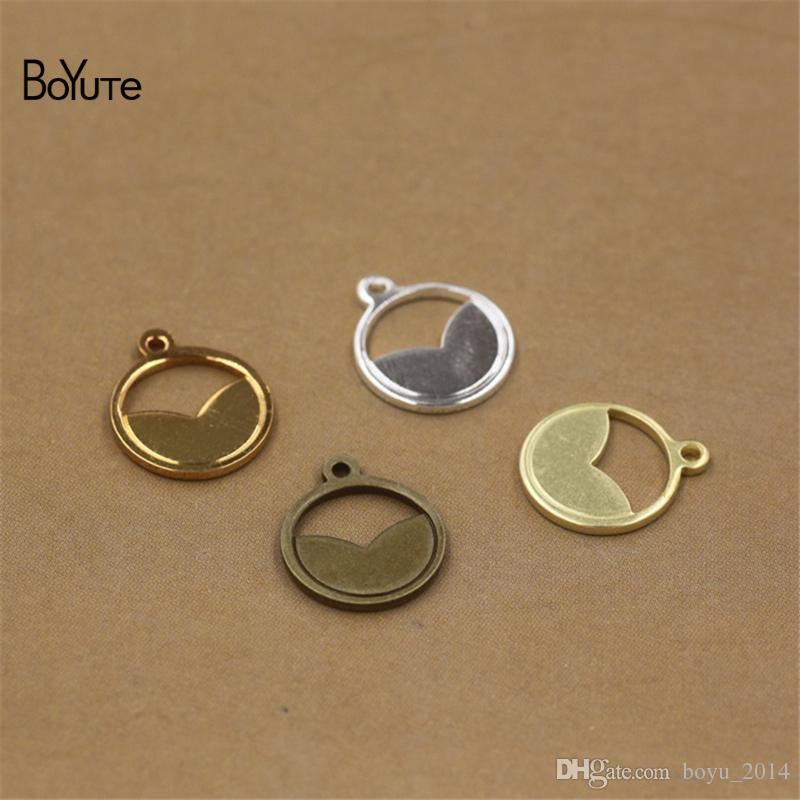 BoYuTe 100Pcs 11MM Metal Brass Scrapbooking Stamping Plate Round Charms for Jewelry Making 4 Colors for Jewelry Making