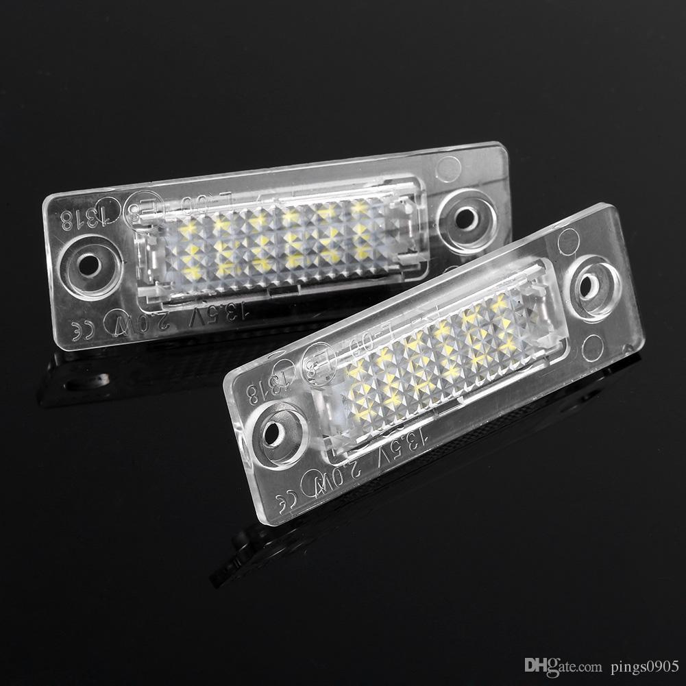 2Pcs White LED License Plate Light Lamp 18leds Number Plate Light For VW JETTA SKODA T5 CADDY Golf Passat