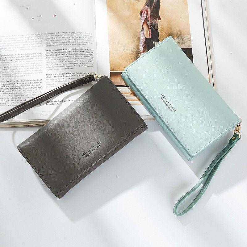 2017 nuova moda portafoglio donne lungo tratto semplice borsa fibbia studente portafoglio selvaggio sacchetto della chiusura lampo sacchetto del telefono mobile