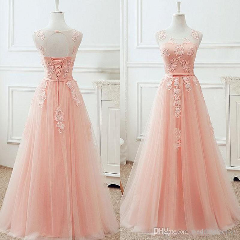Gorgeous Blush Pink Prom Dress A Line Sheer Neck Sleeveless Lace Appliques Corset Prom Dresses Lace-up Open Back Cheap Evening Gown