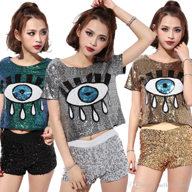 クラブファッション女性短いTシャツDS衣装はジャズダンスの新しい女性ヒップホップ服ビッグアイスパンコトップス