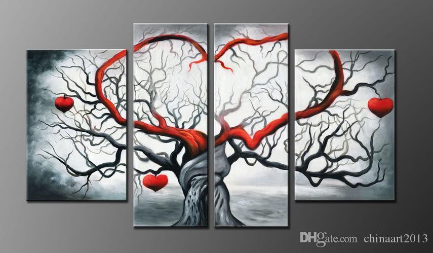 Fabricants de toile à la main de peinture à l'huile sans cadre vendant Pure peint à la main abstrait gris amour assis mur pour la pièce ornement 4 réunion