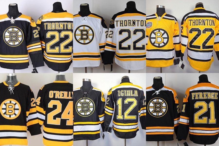 Factory Outlet-Hommes Bruins de Boston # 12 Iginla # 21 Ferenge # 22 Thornton # 24 O'Reilly Black White Yellow maillots de hockey bon marché Shippi gratuit