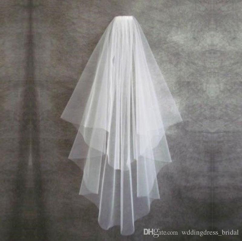 Más barato 2018 dos capas velos de novia blanco tul corto novia velo de novia con peine borde de cinta accesorios nupciales sin peine