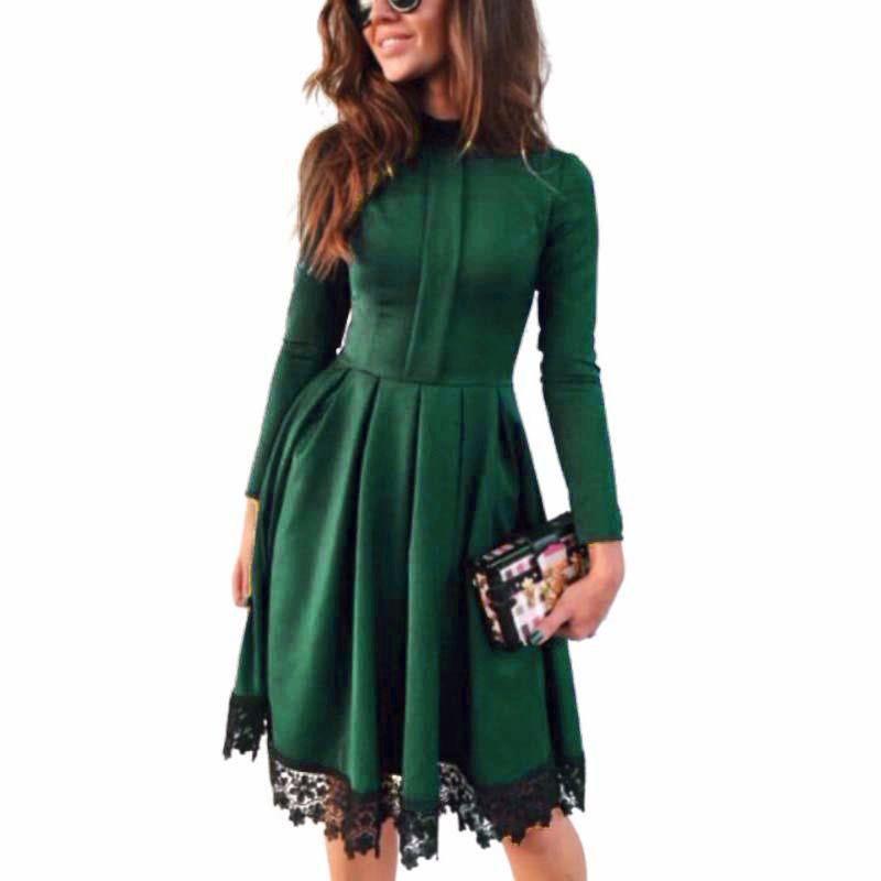 Vestidos 가을 드레스 여자 파티 드레스 빈티지 긴 소매 여성 드레스 슬림 맞는 솔리드 미니 플러스 사이즈 여성 의류 LJ7198T