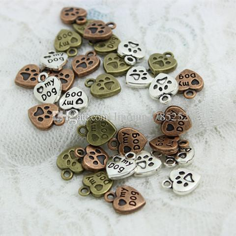"""Sweet Bell (Min order 60 pieces) 10*13mm Three color Alloy Hearts Lettering """"My Dog"""" Jewelry Pendants CharmsD0559"""