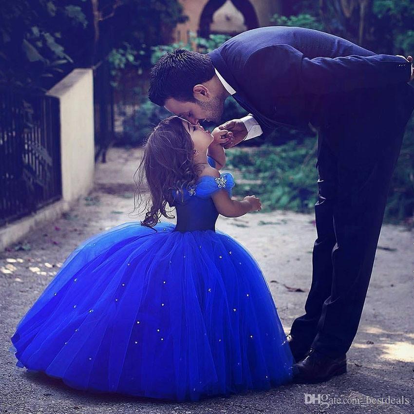 الأزرق الملكي زهرة فتاة فساتين لحفلات الزفاف سندريلا الفتيات فستان الأميرة الأطفال حزب الكرة ثوب الأولى بالتواصل اللباس