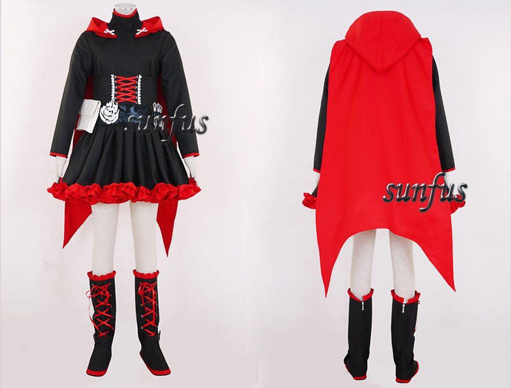 RWBY Ruby Ruby Rose Red Trailer Dress Cloak Cosplay costume anime custom Made ... & Rwby Ruby Ruby Rose Red Trailer Dress Cloak Cosplay Costume Anime ...
