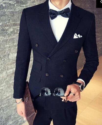 الجملة-جديد وصول رفقاء العريس ذروته التلبيب العريس البدلات الرسمية الأزرق الداكن رجل الدعاوى الزفاف أفضل رجل (سترة + بنطلون + ربطة عنق + hankerchief) B8224