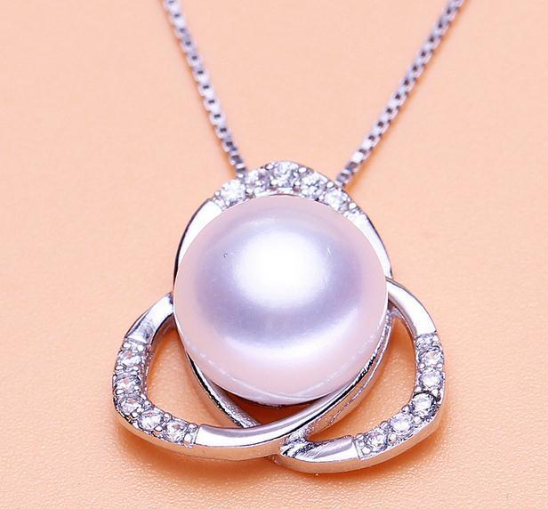 Wholesale 925 silberne antiallergische weibliche 10-11mm oblate hängende Halskette der natürlichen Perle DZ0129
