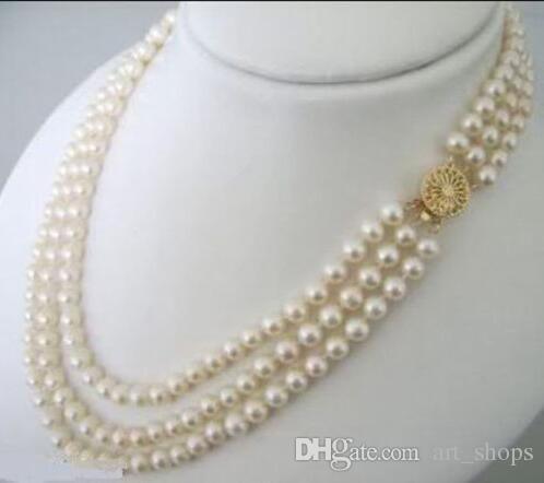 3 ряда 7-8 мм белый Akoya культивированный жемчуг ожерелье