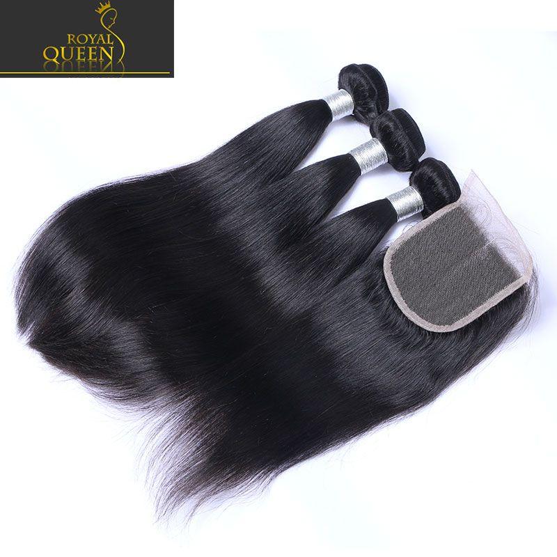 Top Lace Closure With 3 Bundles Brazilian Human Hair Weaves Malaysian Indian Peruvian Straight Virgin Hair Grade 8A Brazillian Hair Closures