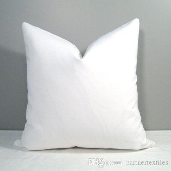 18x18 Zoll einfacher weißer leerer Baumwolle Kissenbezug leer Baumwolle Kissenbezug leer Baumwolle Leinwand Kissenbezug