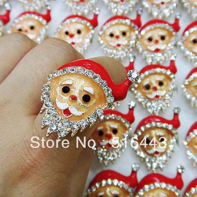 3pcs 18K Gold P Fashion Mens Womens Enamel Zircon Rhinestones Santa Claus Rings Christmas gifts Wholesale Jewlery Lots A-550