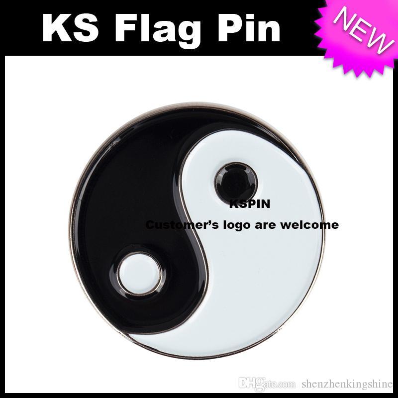 Distintivo 10pcs del distintivo del metallo di Yinyang molto Spedizione gratuita XY0094