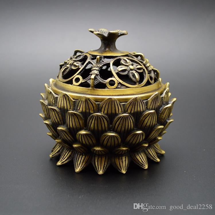 Collection Antique Brûleur d'encens en laiton sculpté à la main, Lotus, Art populaire chinois